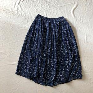 Vintage blue skirt polka dot pleated size:10 midi